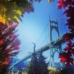 St. Johns Bridge framed by fall foliage